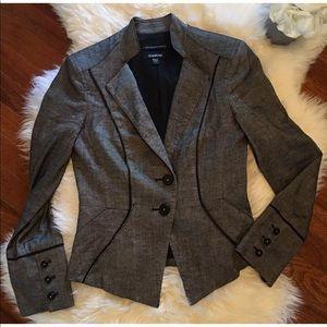 bebe Black Grey Stretchy Knit Jacket Blazer Sz 2